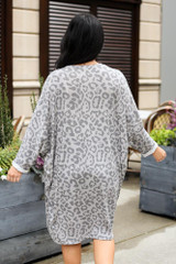 Leopard Lightweight Knit Long Cardigan Back View