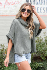 Cowl Neck Oversized Knit Top in Olive Side View
