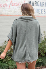 Cowl Neck Oversized Knit Top in Olive Back View