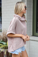Cowl Neck Oversized Knit Top in Taupe Side View