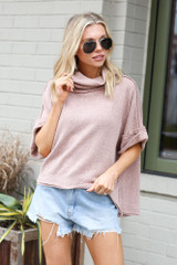Model wearing the Cowl Neck Oversized Knit Top in Taupe Front View