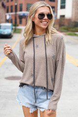 Mocha - Star Brushed Knit Oversized Hoodie from Dress Up