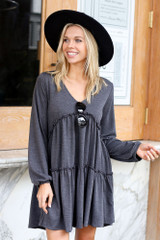 Charcoal - Tiered Balloon Sleeve Babydoll Dress from Dress Up