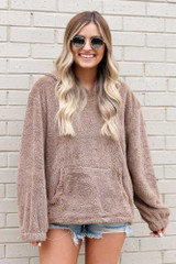 Taupe - Fuzzy Knit Pullover Hoodie from Dress Up