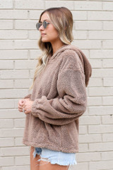 Fuzzy Knit Pullover Hoodie in Taupe Side View