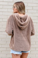 Fuzzy Knit Pullover Hoodie in Taupe Back View