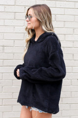 Fuzzy Knit Pullover Hoodie in Black Side View