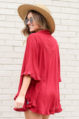 Model wearing the Burgundy Ruffle Trimmed Lightweight Knit Cardigan Back View