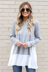 Heather Grey - Model wearing the Lightweight Knit + Chiffon Top