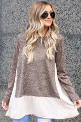 Lightweight Knit + Chiffon Top in Mocha Front View