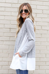 Lightweight Knit + Chiffon Top in Heather Grey Side View
