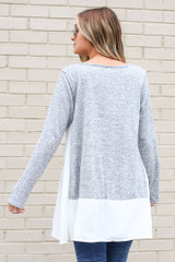 Lightweight Knit + Chiffon Top in Heather Grey Back View