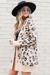 Model wearing the Taupe Leopard Print Luxe Knit Cardigan Side View
