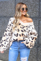 Model wearing the Blush Color Block Leopard Luxe Knit Top