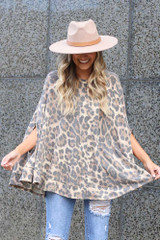 Leopard Print Fleece Poncho Front View