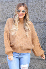 Model wearing the Mock Neck Cable Knit Top in Taupe Front View
