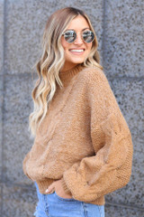 Taupe - Mock Neck Cable Knit Top from Dress Up Boutique