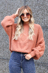 Rust - Mock Neck Cable Knit Top