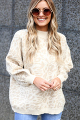 Model wearing the Leopard Luxe Knit Top in Taupe