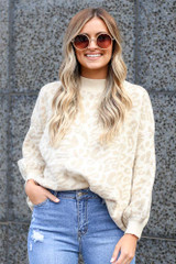 Taupe - Leopard Luxe Knit Top