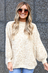Taupe - Leopard Luxe Knit Top from Dress Up