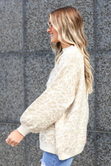 Model wearing the Leopard Luxe Knit Top in Taupe Side View