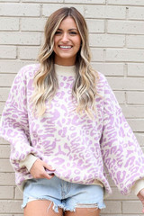 Purple - Leopard Luxe Knit Top from Dress Up Boutique