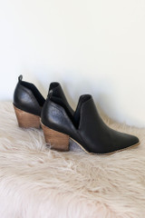 Black - V-Cut Faux Leather Ankle Booties from Dress Up