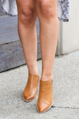 Camel - V-Cut Faux Leather Ankle Booties Front View