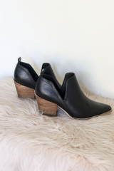 V-Cut Faux Leather Ankle Booties Side View