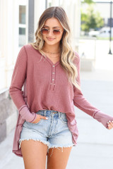 Waffle Knit Oversized Top Front View