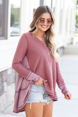 Waffle Knit Oversized Top Side View