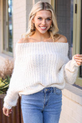 Model wearing the Cropped Eyelash Knit Top in Ivory