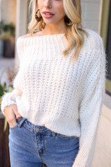 Close Up of the Cropped Eyelash Knit Top in Ivory