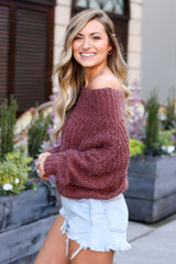 Cropped Eyelash Knit Top in Marsala Side View