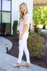 High-Rise Button Front Distressed White Jeans Side View