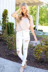 White - High-Rise Button Front Distressed White Jeans