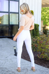 High-Rise Button Front Distressed White Jeans Back View
