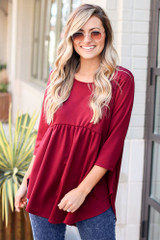 Burgundy - French Terry Babydoll Tunic from dresses boutique online