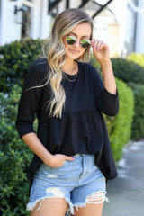 Black - French Terry Babydoll Tunic
