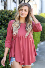 Mauve - Model wearing the French Terry Babydoll Tunic