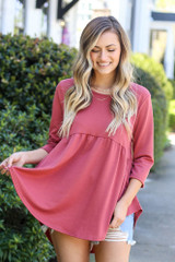 Mauve - Model wearing the French Terry Babydoll Tunic from Dress Up in Mauve Front View