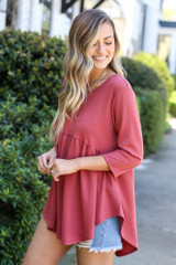 Model wearing the French Terry Babydoll Tunic from Dress Up in Mauve Side View
