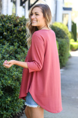 Model wearing the French Terry Babydoll Tunic from Dress Up in Mauve Back View