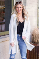 Model wearing the Ivory Fuzzy Knit Cardigan Front View