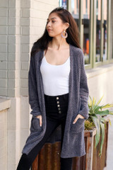 Model wearing the Charcoal Fuzzy Knit Cardigan front view