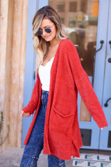 Model wearing the Rust Fuzzy Knit Cardigan Side View