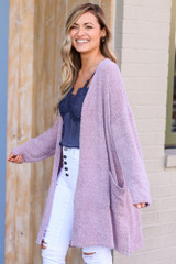 Model wearing the Blush Fuzzy Knit Cardigan Side View
