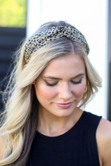 Model wearing the Olive Leopard Print Knotted Headband