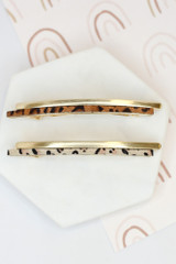 Flat Lay of both colors of the Leopard Print Hair Barrette
